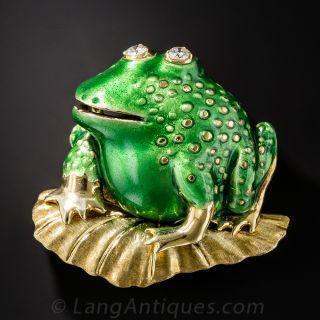 Large Green Enamel Frog Brooch