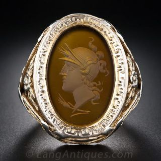 Large Intaglio Two-Tone Gold Gents Ring