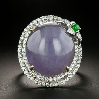 Large Lavender Jade And Diamond Cocktail Ring - 2