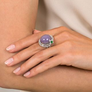 Large Lavender Jade and Diamond Cocktail Ring