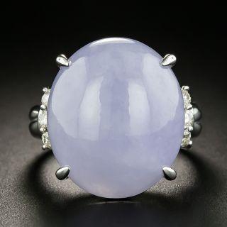 Large Lavender Jade and Diamond Ring - 2