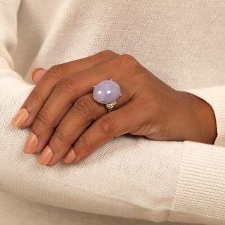 Large Lavender Jade and Diamond Ring