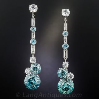 Large Long Blue and White Zircon Earrings - 2