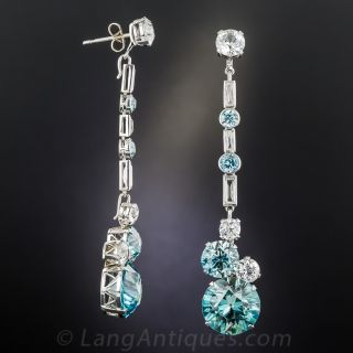 Convertible Long Blue and White Zircon Earrings