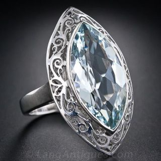 Large Marquise  Aquamarine Ring