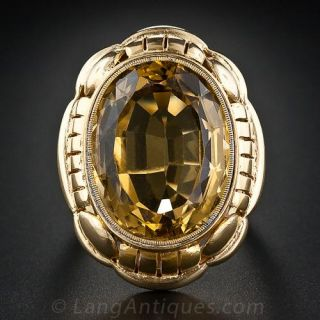 Large Mid-Century Citrine Ring