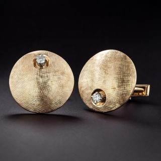 Large Mid-Century Cufflinks with Diamonds - 1