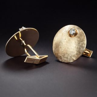 Large Mid-Century Cufflinks with Diamonds