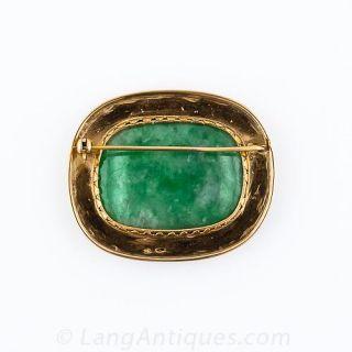 Large Mid-Century Natural Burmese Jade Brooch