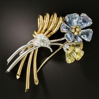 Oscar Heyman Sapphire Diamond Flower Brooch