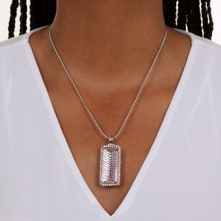 Large Novelty-Cut Kunzite and Diamond Pendant/Brooch