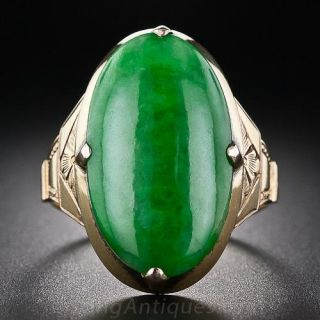 Large Oval Jade Vintage Chinese Ring