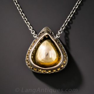Large Pear-Shaped Rose-Cut Diamond Drop