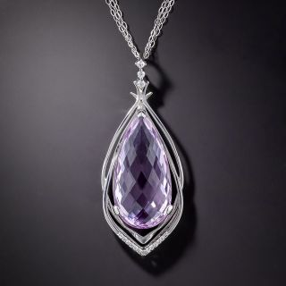 Large Pink Amethyst and Diamond Necklace - 1