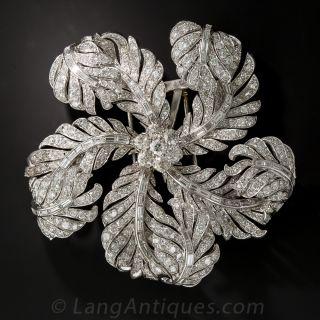 Large Platinum and Diamond Corsage Brooch - 1