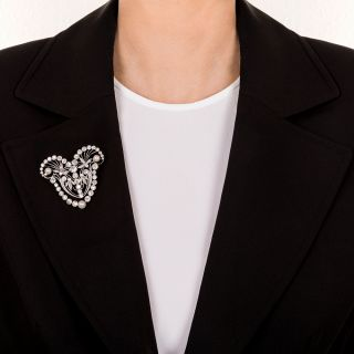 Large Platinum, Diamond, Natural Pearl Edwardian Brooch / Necklace