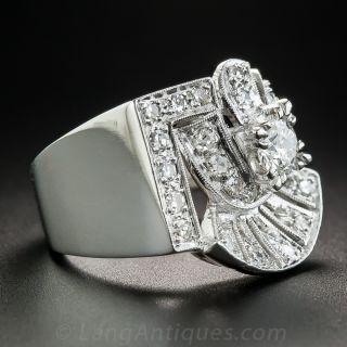 Large Platinum Diamond Retro Ring