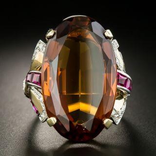 Large Retro 25 Carat Madeira Quartz, Ruby and Diamond Ring - 2