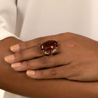 Large Retro 25 Carat Madeira Quartz, Ruby and Diamond Ring
