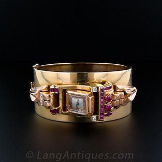 Large Retro Bangle Watch