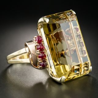 Large Retro Citrine and Cabochon Ruby Ring