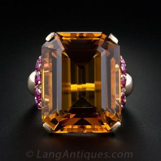 Large Retro Citrine and Ruby Ring