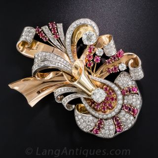 Large Retro Diamond and Ruby Brooch - 1