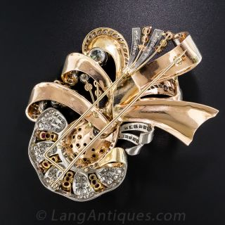 Large Retro Diamond and Ruby Brooch