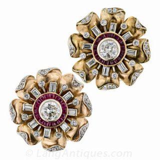 Retro Diamond Ruby Earrings