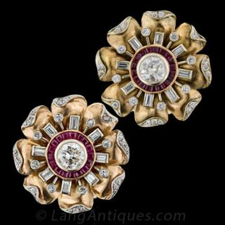Large Retro Diamond and Ruby Earclips