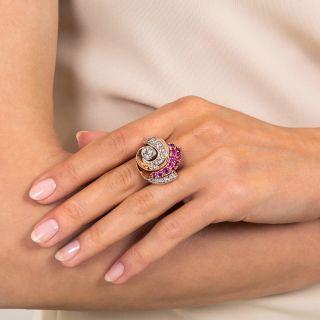 Large Retro Diamond and Ruby Swirl Ring