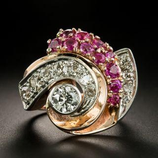 Large Retro Diamond and Ruby Swirl Ring - 2