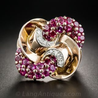 Large Retro Ruby and Diamond Ring - 1