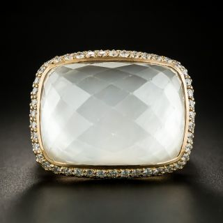 Large Rock Crystal and Diamond Ring - 3
