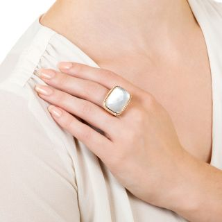 Large Rock Crystal and Diamond Ring