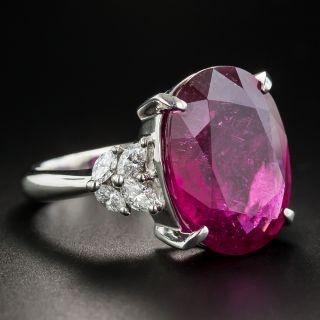 Large Rubelite Platinum Diamond Ring
