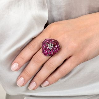 Large Ruby and Diamond Flower Ring