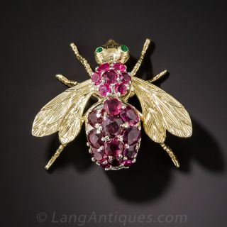Large Ruby Bee Pin - 2