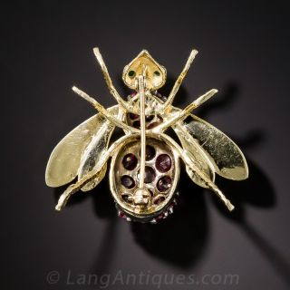 Large Ruby Bee Pin