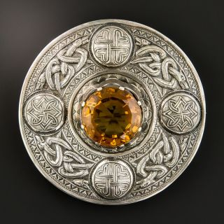 Large Scottish Citrine Celtic Knot Pin - 1