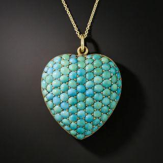 Large Turquoise Heart Pendant Locket  - 2