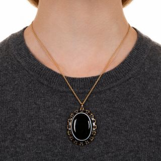 Large Victorian Bull's-Eye Agate Pendant Necklace