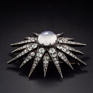 Large Victorian Diamond and Moonstone Pendant and Brooch