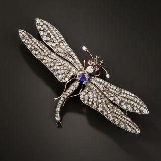 Large Victorian Diamond and Sapphire Dragonfly Brooch - 1