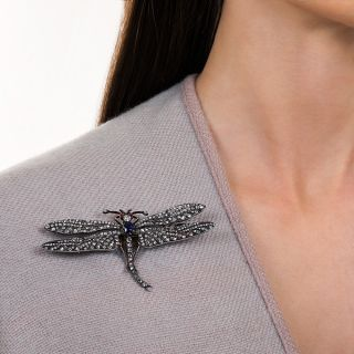 Large Victorian Diamond and Sapphire Dragonfly Brooch