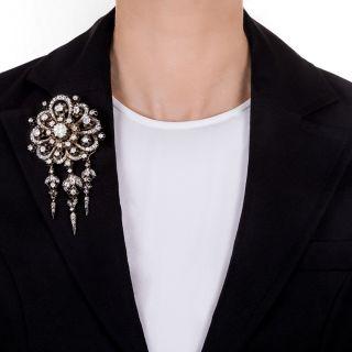 Large Victorian Diamond Tassel Brooch