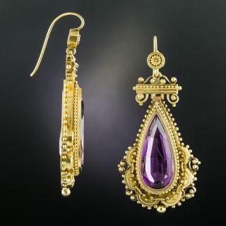 Large Victorian Etruscan Revival Amethyst Drop Earrings - 2