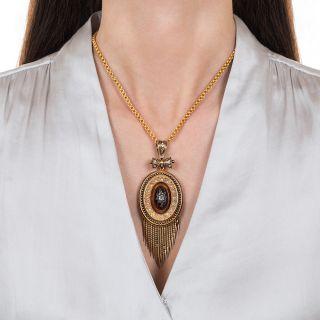 Large Victorian Garnet and Diamond Tassel Locket Pendant