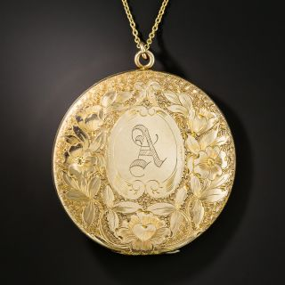 Large Victorian Round Engraved 'A' Locket  - 1