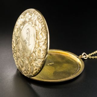 Large Victorian Round Engraved 'A' Locket